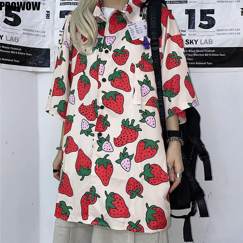 Camisa de manga corta con estampado de fresas de verano 2020, blusa informal coreana para mujer, Blusas holgadas de dibujos animados para mujer
