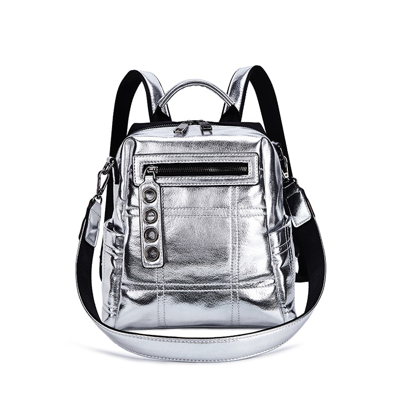 Frauen Silber Reflektierende Riss Dual Persönlichkeit Schulter Tasche Rucksack Mode-Design