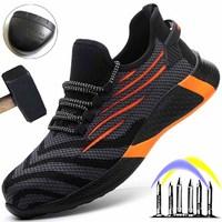 Дышащие мужские рабочие ботинки со стальным носком, непрокалываемые защитные ботинки, мужские рабочие кроссовки, неразрушаемые защитные б...