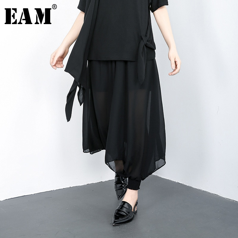 [EAM] High Elastic Waist Black Chiffon Split Long Wide Leg Trousers New Loose Fit Pants Women Fashion Spring Summer 2020 1U621
