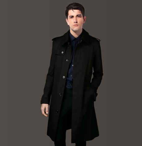 معطف رجالي خريفي طويل بصدر واحد غير رسمي ، معطف رجالي كبير الحجم ، سوبريتودو KJ276