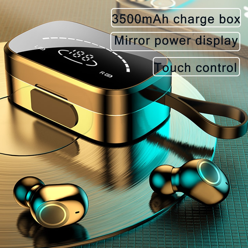 3500mAh Bluetooth Wireless Earphones with Mic Sports Waterproof TWS Wireless Headphones Touch Contro