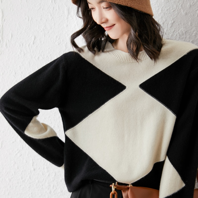 2021 woman winter 100% Cashmere sweaters knitted Pullovers jumper Warm Female Patchwork blouse O-neck long sleeve clothing enlarge