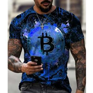 Casual Streetwear Fashion T-shirt Men's Short-Sleeved Loose Tshirt Bitcoin 3D Printed Slim O-neck Pullover T shirt Free Shipping