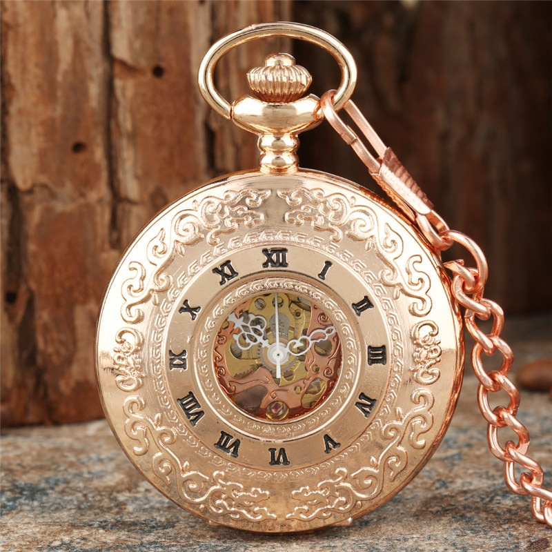 Vintage Hollow Roman Numbers Skeleton Mechanical Hand-Wind Pocket Watch with Pendant Chain Men Women Gift Rose Gold Clock Reloj