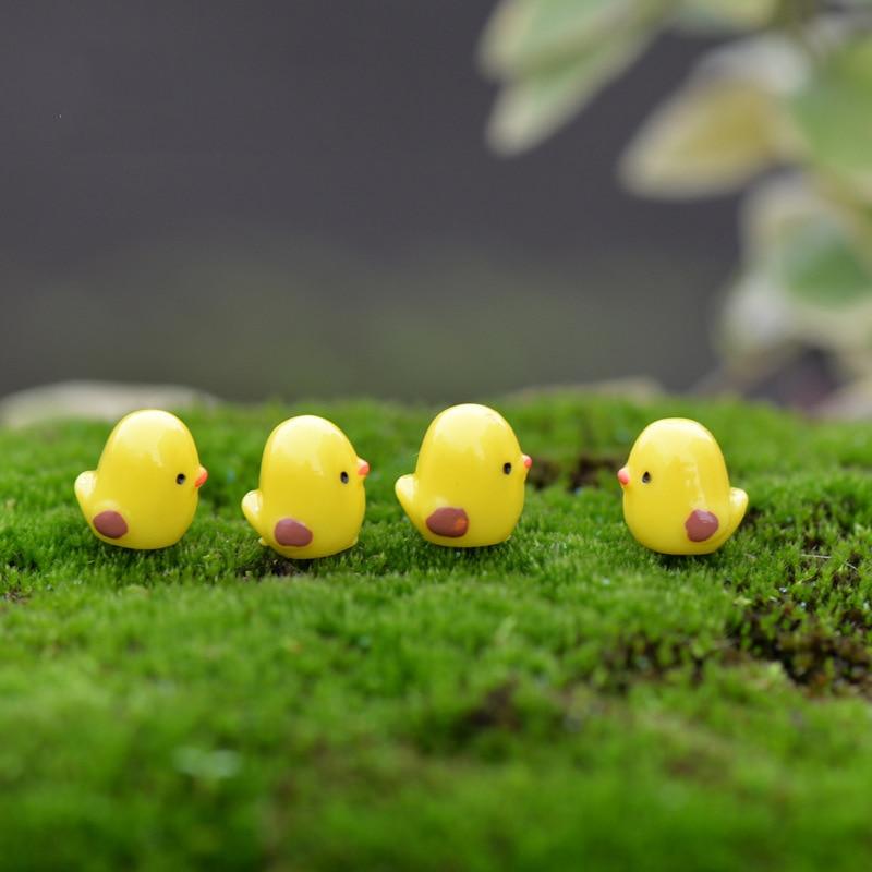 10 piezas Mini pollo miniaturas Jardín de hadas musgo terrario resina manualidades decoración estacas artesanía
