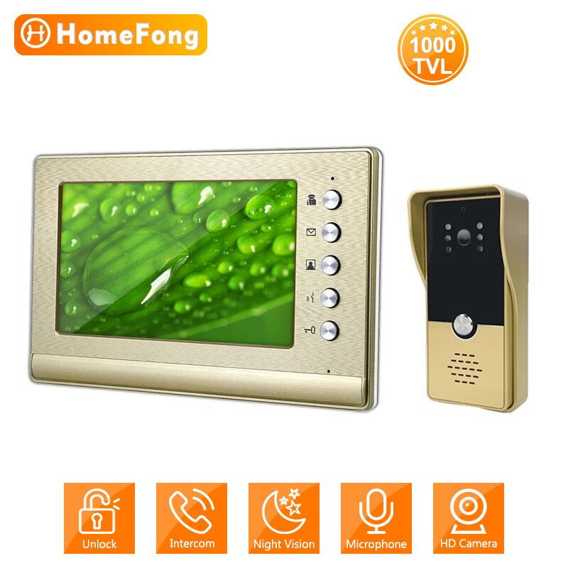 HomeFong 7-Inch Wired Intercom Entry System Screen Monitor 1000TVL IP65 Doorbell Call Panel Camera Video Door Phone for Home