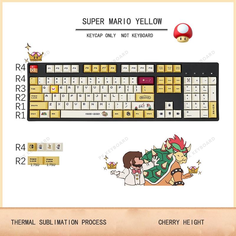 أغطية مفاتيح 120 + PBT أغطية مفاتيح نمط سوبر ماريو أصفر لموديلات 104/108/87/84/64/61/68 لوحة مفاتيح حرارية