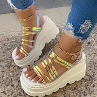 ins wedges sandals increasing height female shoes summer fashion casual breathable open toe thick big size platform woman shoes