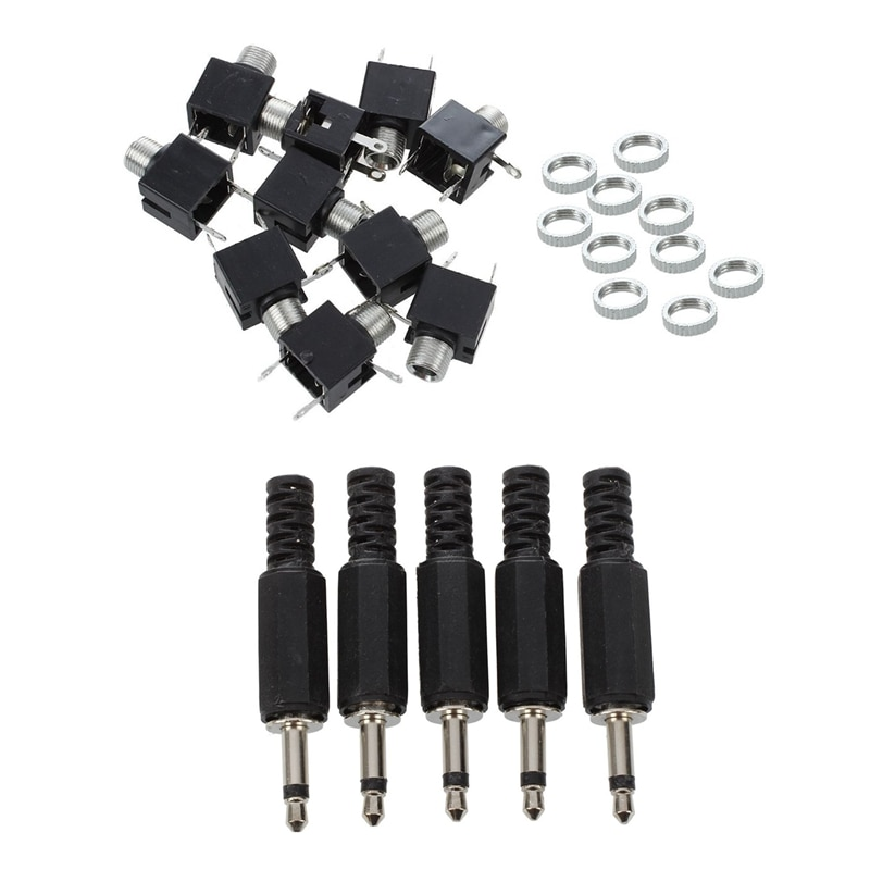10 Pcs Panel PCB Female 3.5mm Headphone Jack Audio Connectors & 5pcs Black Plastic 3.5mm Male Mono Plug Jack