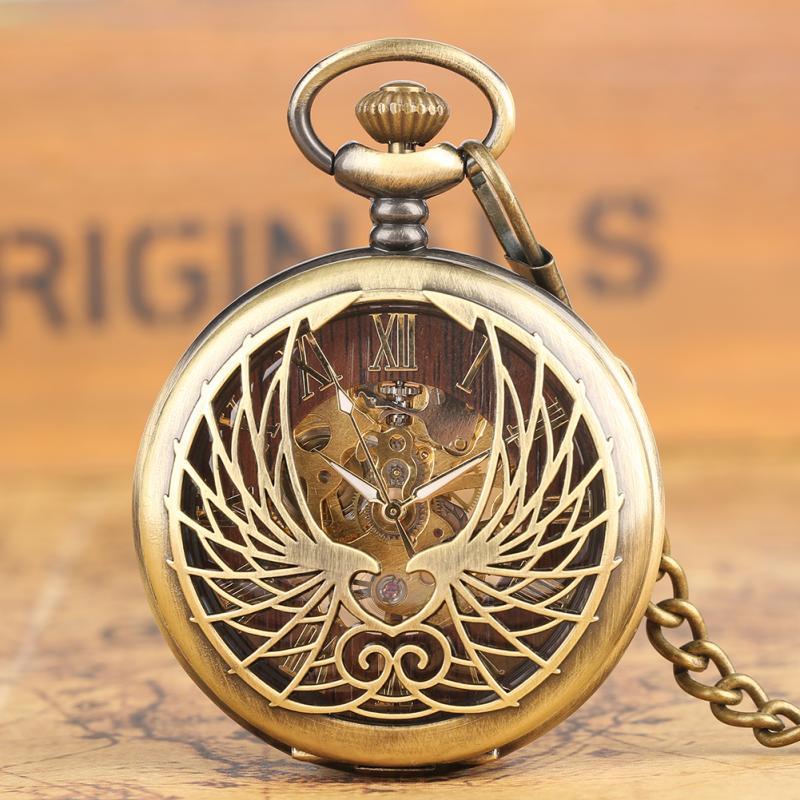 Relógio de Bolso Presentes para Homens Steampunk Bronze Handwinding Mecânico Numerais Romanos Display Pingente Corrente Fob Relógio Oco