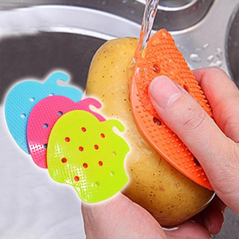 Accesorios de frutas 1 unidad de cepillos de limpieza de suciedad para proteger la mano de la cocina utensilios de limpieza de artefactos para patata herramientas de limpieza fáciles