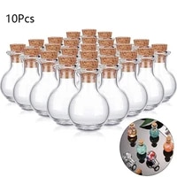 10pcs mini glass bottles clear liquid container small wishing bottles with cork stoppers for birthday party refillable bottles