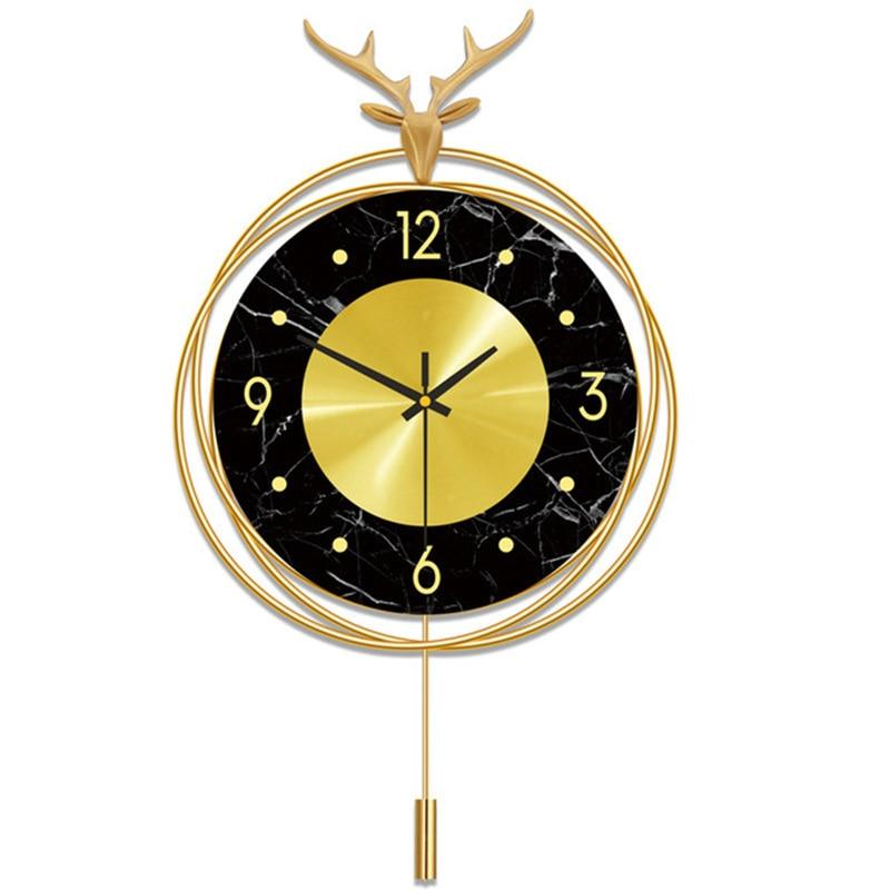 Relojes de cobre de lujo de luz nórdica, reloj de pared con cabeza de ciervo creativo a la moda para sala de estar, reloj colgante para decoración del hogar
