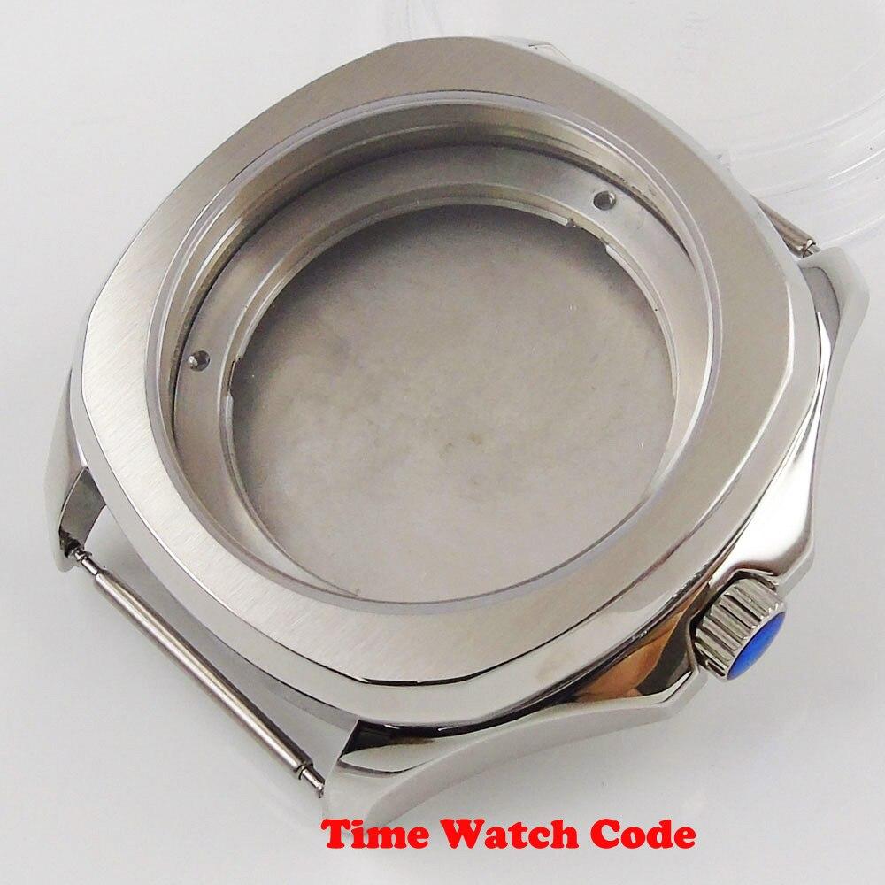 Vidro de Safira Quadrado Inoxidável Relógio Masculino Case Caber 2824 2836 8215 2813 Movimento Automático 40mm 316l Aço