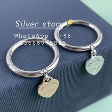 2021 new classical fashion simple letters heart-shaped pendant ms 1:1 original S925 pure silver ring