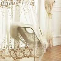 european style embroidered screen curtains for tents bay window curtains for living room and bedroom