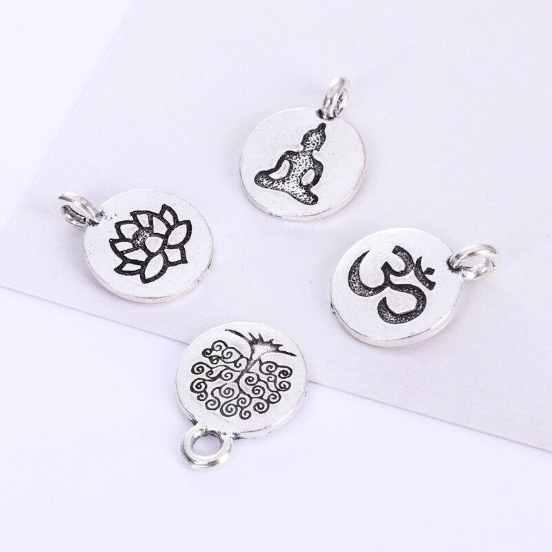 Amuleto de colgante Buda plateado antiguo, joyería de plata antigua, pendiente pulsera joyería chakra verve Buddha lotus yoga Bud