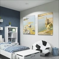 modern children figure painting bedroom canvas spray painting customized drawing un framde wall decoration diy solid wood frame