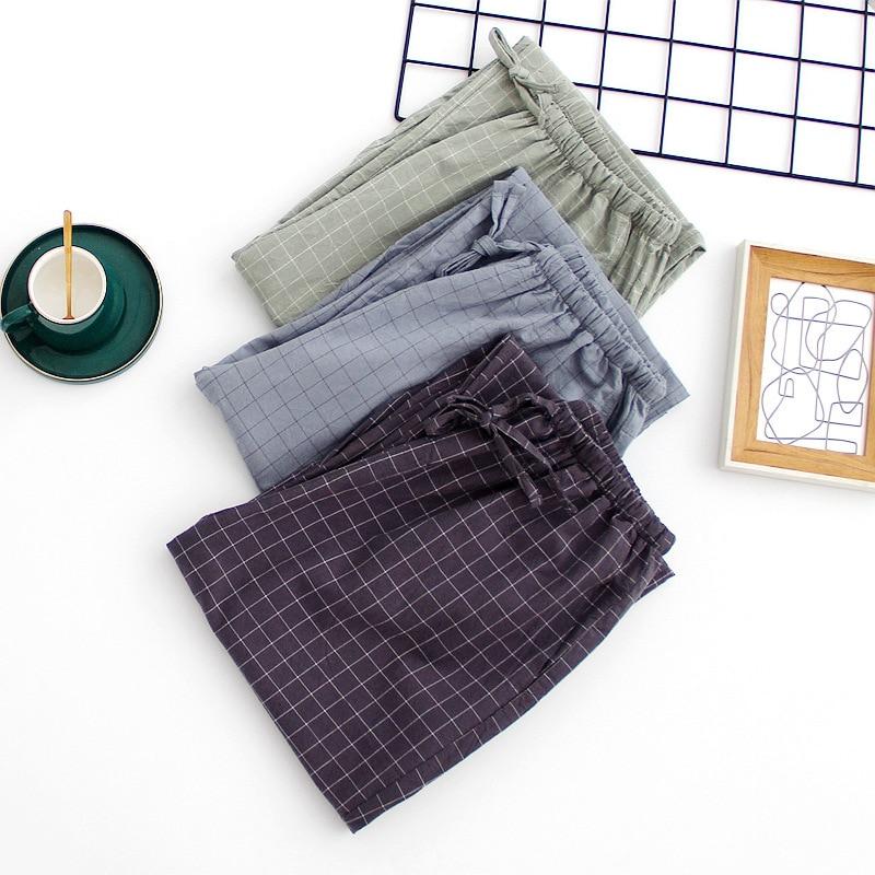 Washed Cotton Spring Pyjama Bottoms Couple's Home Pants Elastic Waist Plaid Sleepwear Women and Men