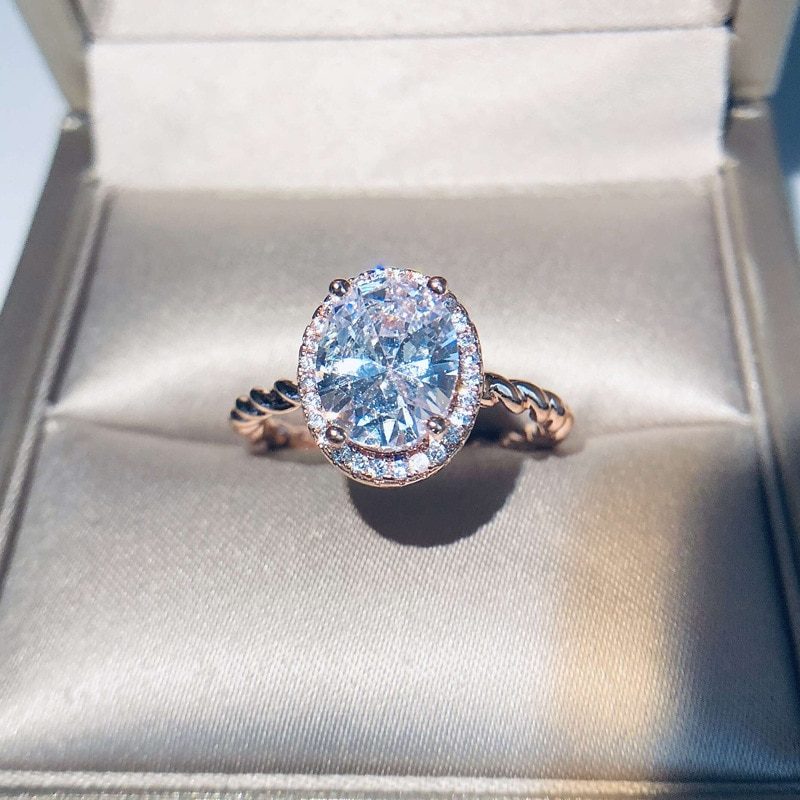 925 серебряные ювелирные изделия кольца Овальный драгоценный камень циркон мода палец кольцо украшение для женщин Свадебные обручальные ве...
