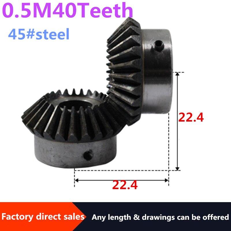 Bevel Gear 2pcs 0.5M 40Teeth inner hole 6 mm gear 45# steel 90 degrees  meshing angle Steel Gears  Screw Hole M5