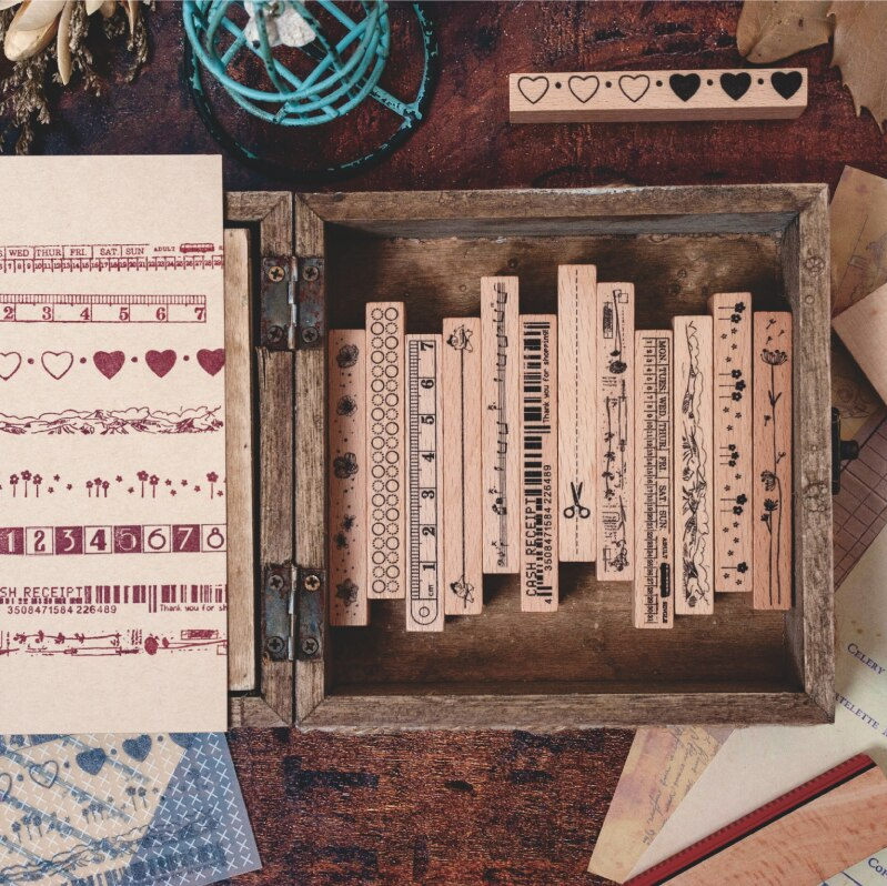 Sello de madera de sello de decoración del Mes de la semana del Plan multifunción Vintage
