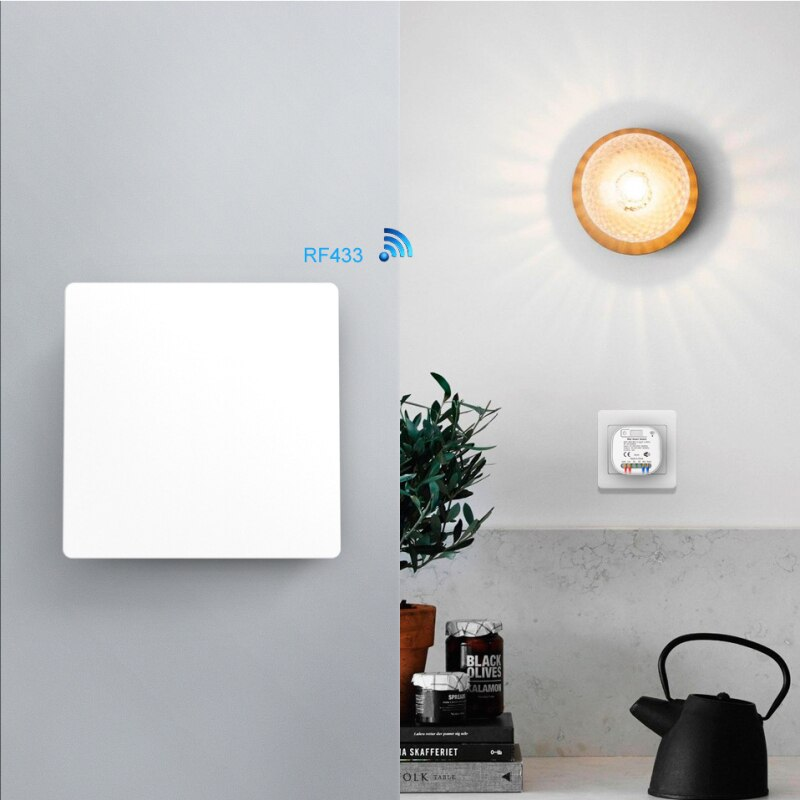 433Mhz Wireless Wall Switch Panel Transmitter Safety 100-240V Relay Interruptor For Light Lamp 16A WiFi Controller