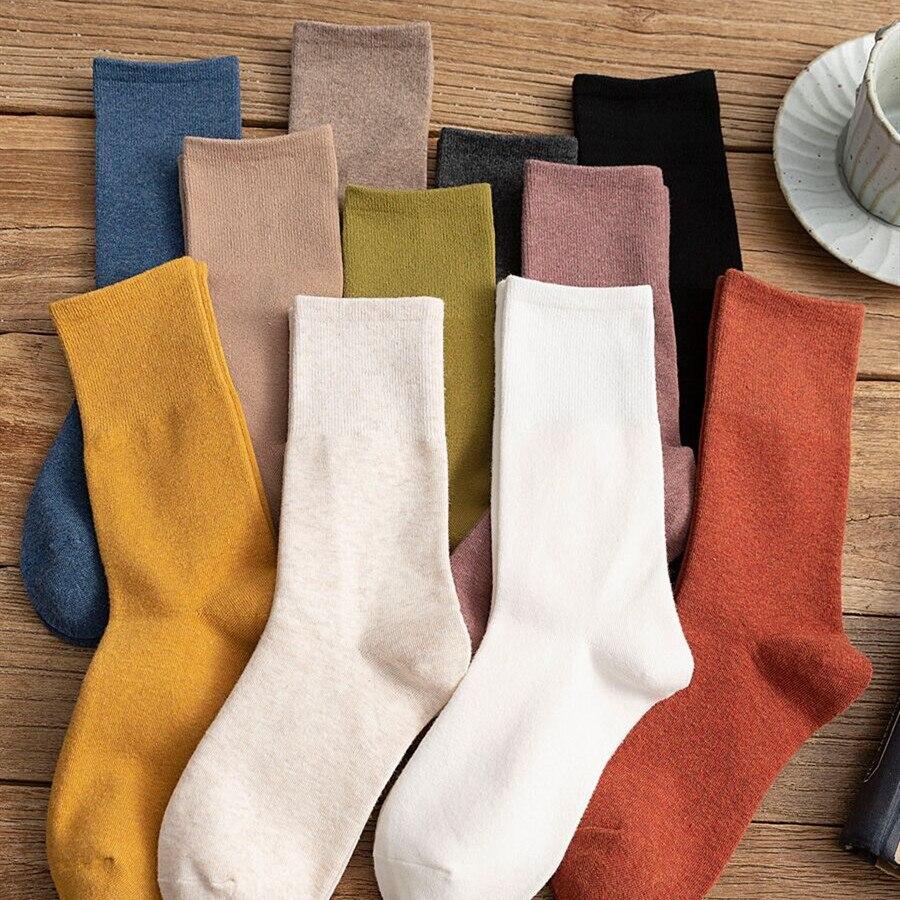 Зимние носки, женские чулки средней длины, женские японские однотонные чулки с пучками, женские высокие мужские носки