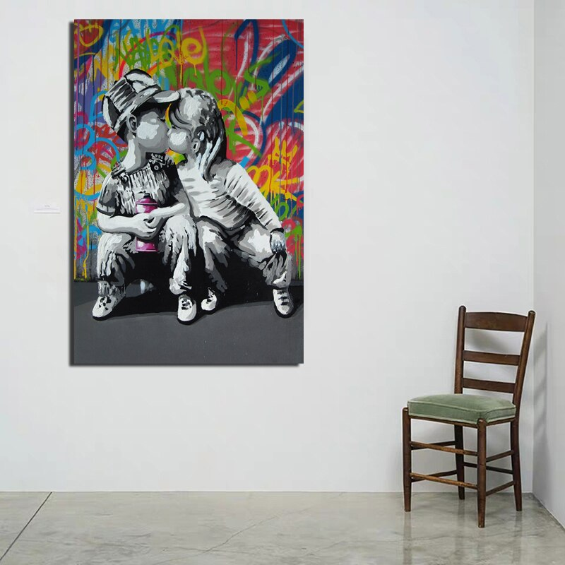 Lienzo con impresión de artista besando a niños, decoración para el hogar y la sala de estar, arte de la pared moderno, pintura al óleo, pósteres, Marco de imagen