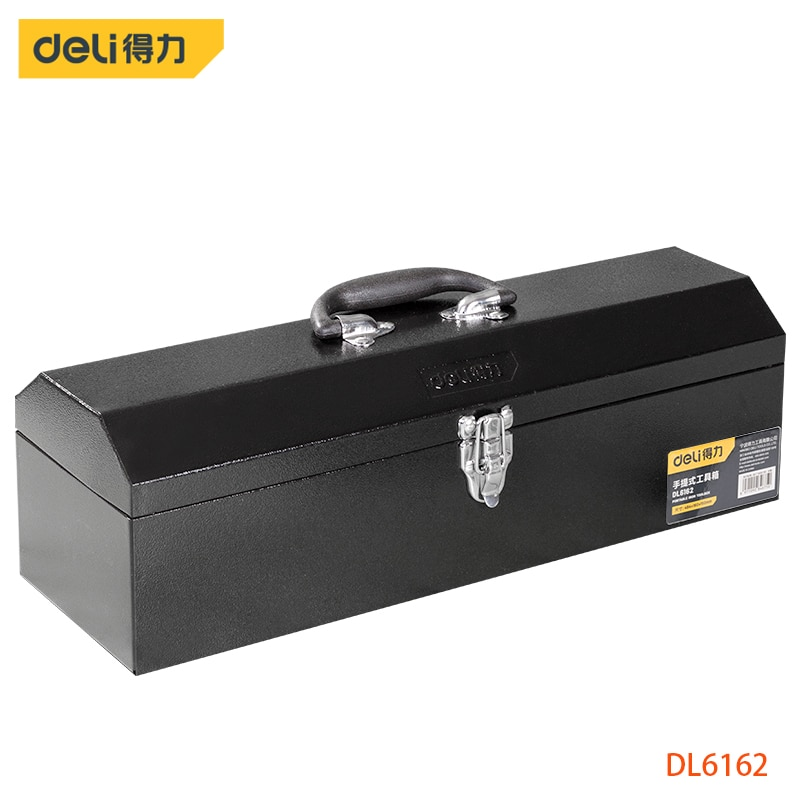 Deli 20 Inch Metal Tool Box Tool Storage Made Of Cold-Rolled Steel Compressive Seismic And Strong Metal Lock