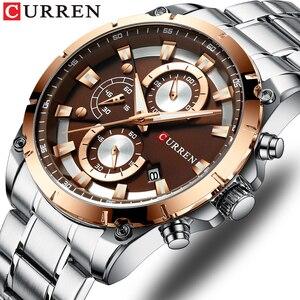 CURREN Мужские часы Топ бренд класса люкс модные кварцевые мужские часы Стальные водонепроницаемые спортивные наручные часы Мужские часы Relogio...