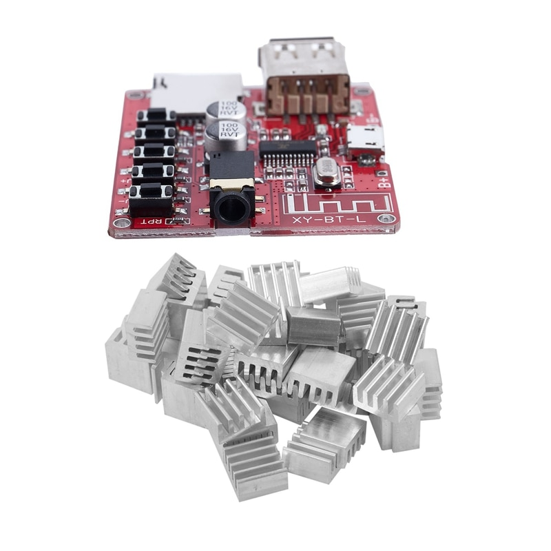 1 pcs bluetooth decodificador placa mp3 lossless carro alto-falante & 50 pces 9x9x5mm mini dissipador de calor de alumínio para ic led chipset ram