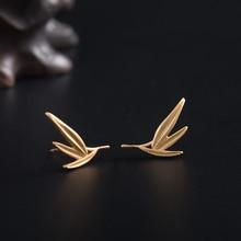 VLA 925 Silver Temperament Fashion Earrings Women's Simple Gold Color Bamboo Leaf Stud Earrings 2021