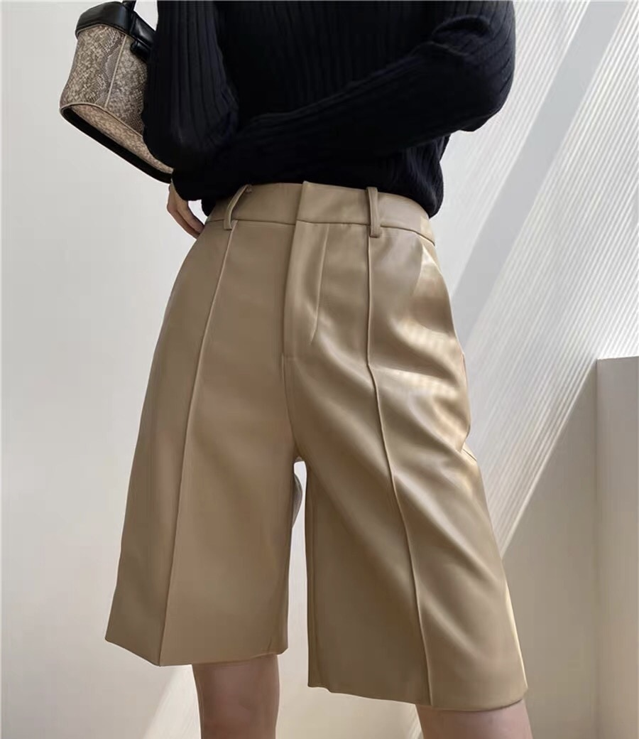 2021 Spring And Autumn New Sheepskin Leather Shorts Five Loose Slim Wear High Waist Wide Leg Pants W