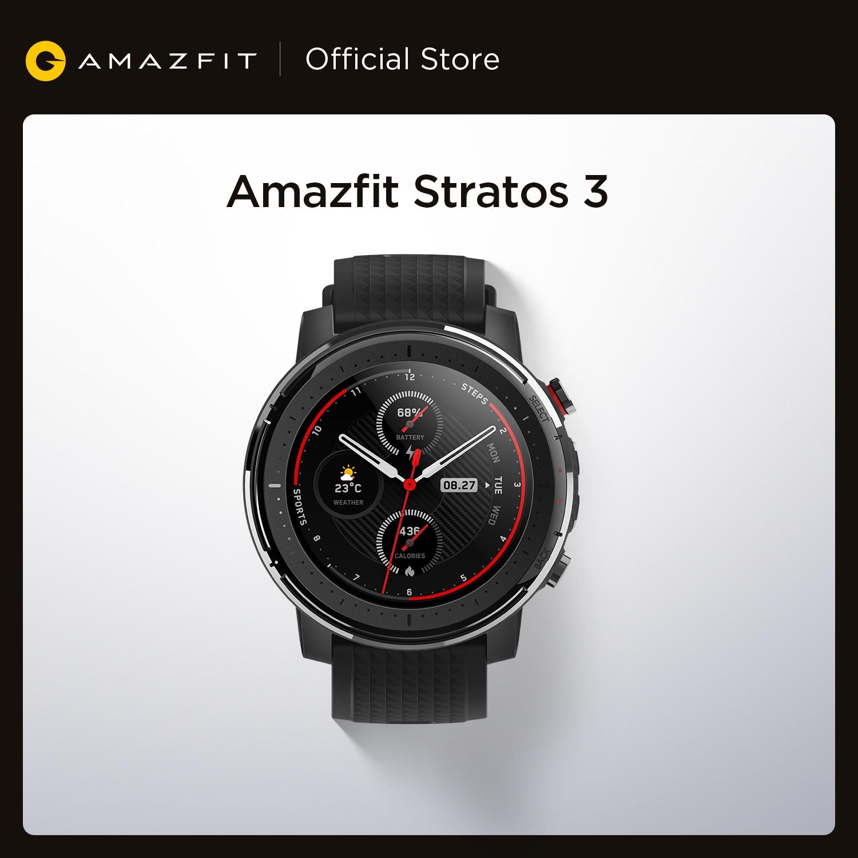 Умные часы Amazfit Stratos 3, GPS, 5 АТМ, музыка, двойной режим, 14 дней, умные часы для Android 2019
