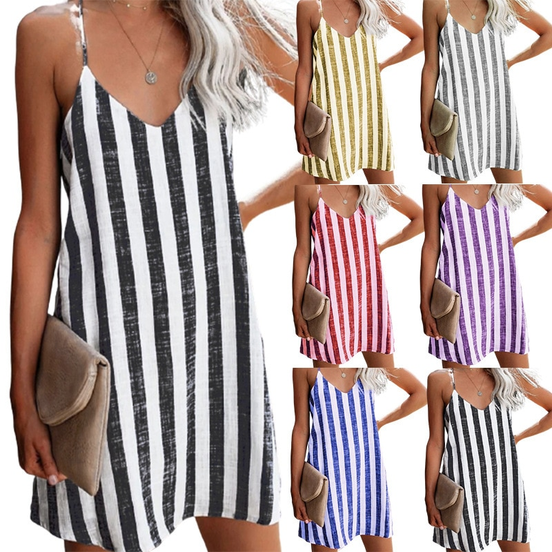 scoop neck sleeveless striped loose fitting dress for women Summer New 2021 Women Sexy V-neck Sleeveless Striped Camisole Dress Ladies Fashion Loose Casual Mini Dresses  S-3XL