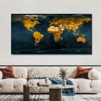 abstract golden world map wall art posters and prints canvas paintings wall art pictures for living room cuadros home decor