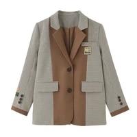 chic plaid casual suit womens 2021 spring new color match popular joker design suit jacket tide