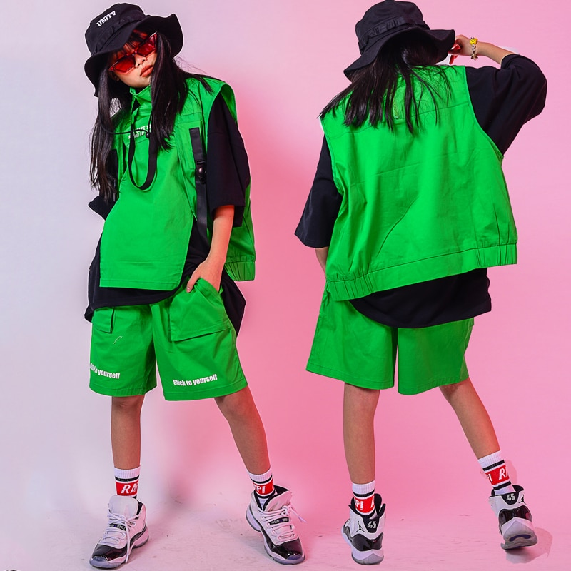 Children'S Day Boys Hip Hop Dance Costumes For Kids New Green Hiphop Jazz Outfits Stage Performance Clothes Street Wear DQS4398