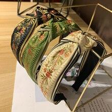 Bandeau serre-tête brodé fleurs   Turban large sur le côté pour adulte, bandeau avec nœud central, accessoires pour cheveux, nouvelle mode