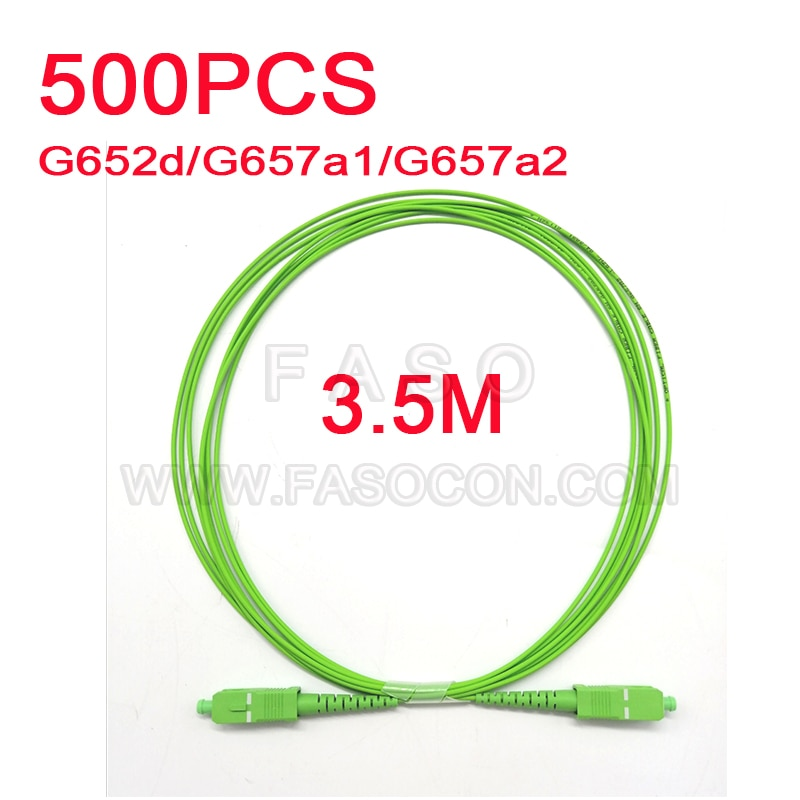 500Pcs 3.5 Meter Optical fiber cable SC/APC SX Core 1.6mm SM G652D/G657A1/G657A2 Green LSZH Jacket Fiber Optic Patch Cord