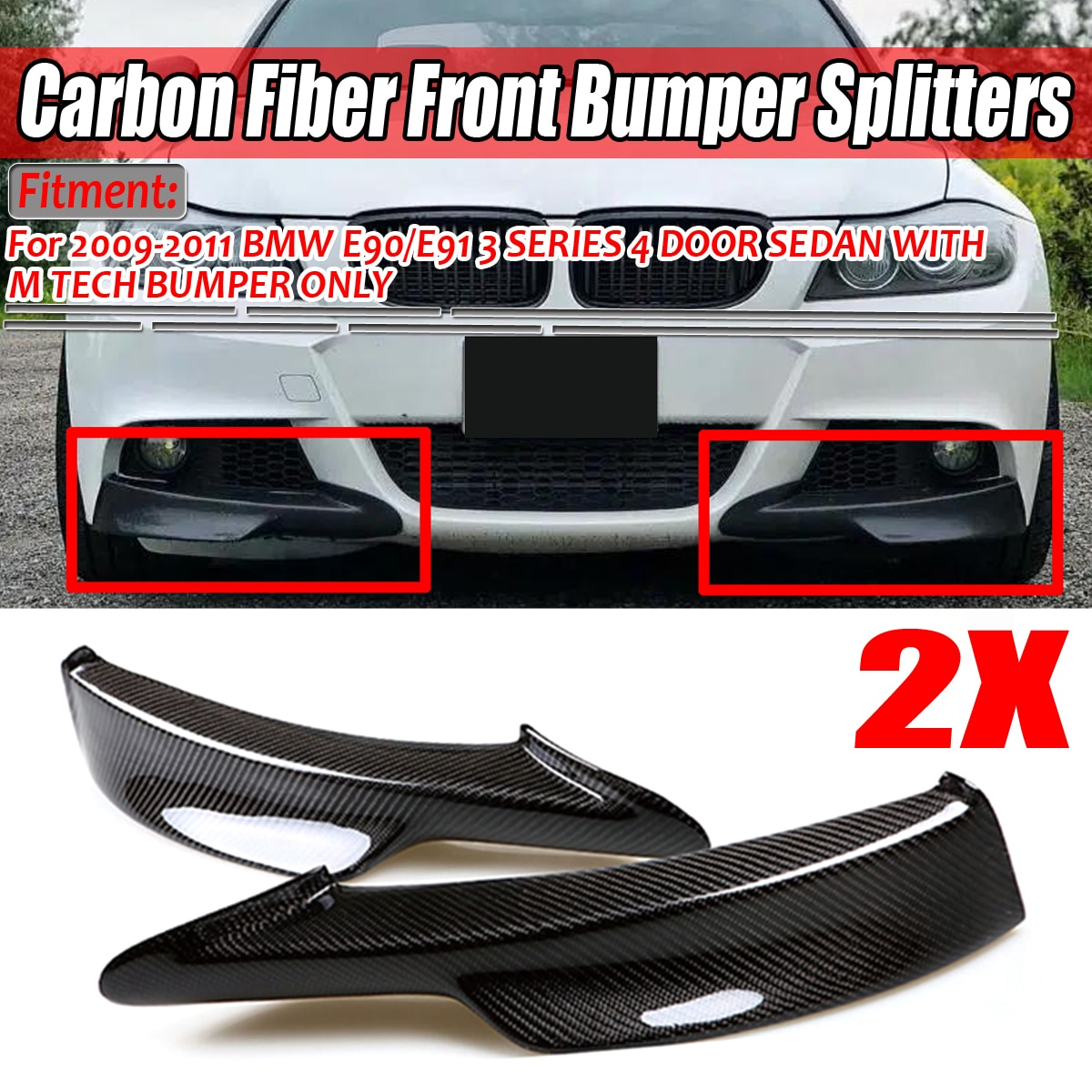 Пара реального углеродного волокна автомобиля передний бампер сплиттер губ для BMW E90/E91 3 серии 4 Dr седан с M-Tech Бампер 2009-2011