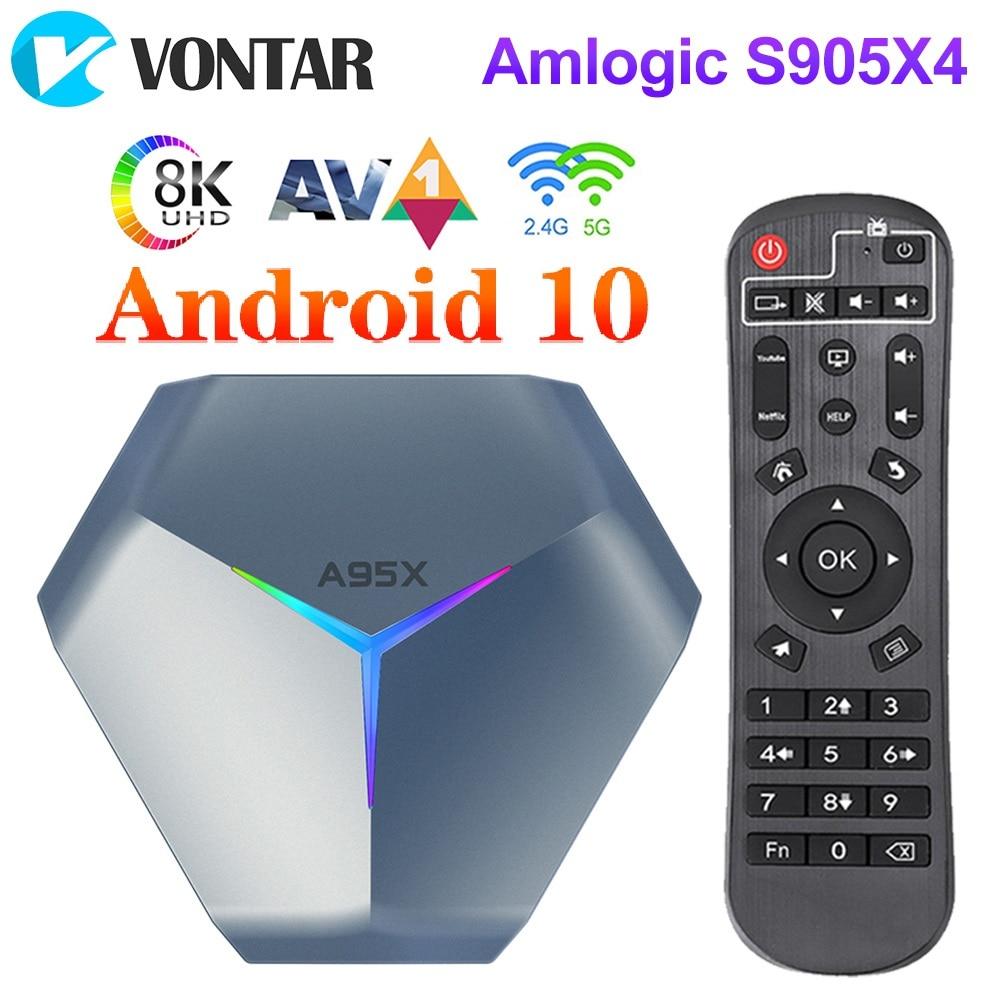 4GB 128GB A95X F4 Amlogic S905X4 RGB ضوء مربع التلفزيون الذكية أندرويد 10 4G 64GB ثنائي واي فاي 8K يوتيوب مشغل الوسائط TVBOX مجموعة صندوق