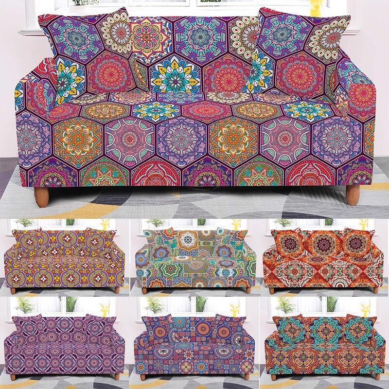 أغطية قابلة للتمدد لأريكة مقعد 1/2/3/4 ، أغطية أريكة عالية الجودة ، طباعة ماندالا ، مقاس عالمي ، 4 أحجام