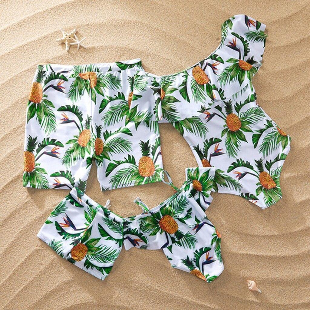 Bikini familiar con estampado de piña para hombre, traje de baño para papá e hijo, traje de baño para playa, pantalones cortos, traje de baño para niños 2020, conjunto de Bikini # YL10