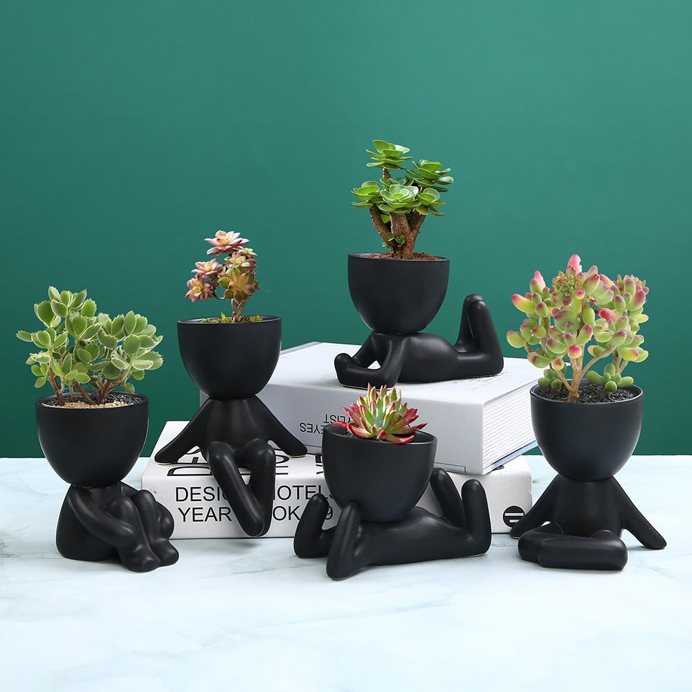 Mini-familia maceta ser humano De cerámica De forma Mini maceta para escritorio...