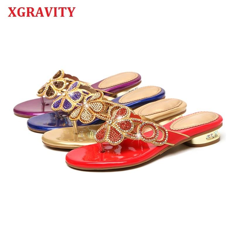 XGRAVITY-أحذية نسائية صيفية من حجر الراين ، وأحذية أنيقة ، وعصرية ، وتصميم الأزهار ، والكريستال ، والصنادل ، 2021