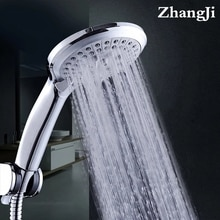 Zhang Ji 5 Modes Silicone Nozzle Shower Head HandHold Rainfall Jet Spray High Pressure Powerful Shower Head Chrome plating