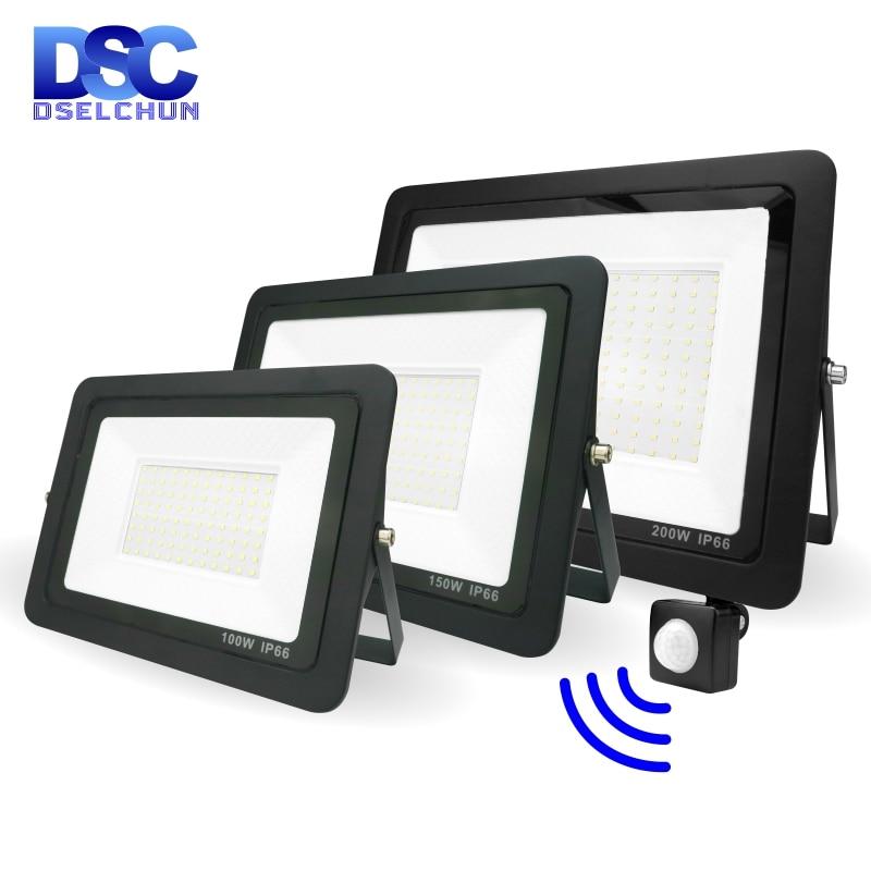 LED PIR Motion Sensor Flood Light 200W 150W 100W 50W 30W 20W 10W Outdoor Lighting Floodlight Spotlight IP66 Waterproof Led Lamp недорого